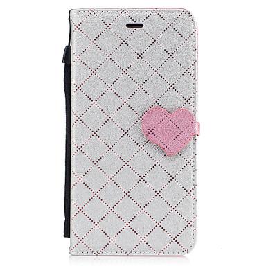 Maska Pentru Apple iPhone 7 Plus iPhone 7 Titluar Card Portofel Cu Stand Carcasă Telefon Linii / Valuri Inimă Greu PU piele pentru iPhone
