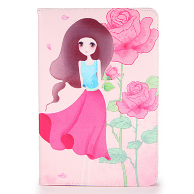Voor apple ipad mini1 2 3/4 case hoesje met tribune flip patroon hoesje hoesje sexy dame bloem hard pu leer
