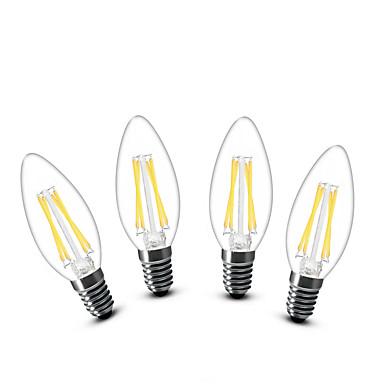 3W E14 LED-kynttilälamput C35 4 COB 400 lm Lämmin valkoinen Koristeltu AC 220-240 V 4 kpl