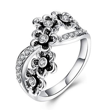 Dames Ring Kristal Zirkonia Zilver Kristal Zirkonia Verzilverd Kromi Geometrische vorm Bloem Gepersonaliseerde Bloemen Meetkundig Uniek