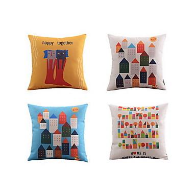 4 adet Linen Yastık Kılıfı Yatak Yastığı Vücut Tastığı Seyahat Yastığı Koltuk Yastık,Geometrik Doğa Hayvan Baskısı Natürmort Grafik