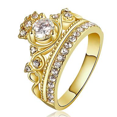 للمرأة خواتم بيان خاتم خاتم خطوبة كريستال مكعب زركونيا مخصص ترف موضة euramerican في بيان المجوهرات نحاس مطلية بالذهب Crown Shape مجوهرات