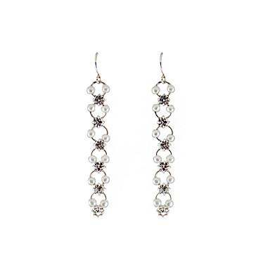 Damen Tropfen-Ohrringe Imitierte Perlen Strass Einzigartiges Design Geometrisch individualisiert Hypoallergen Handgemacht Film-Schmuck
