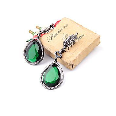 Halka Küpeler Kristal Kişiselleştirilmiş Euramerican minimalist tarzı Yeşil Mücevher Için Düğün Parti Doğumgünü 1 çift