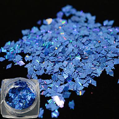 1 φιάλη νέα λάμψη μόδας μπλε σχέδιο καρφί τέχνης λέιζερ λωρίδα λωρίδα λεπτή φέτα εκθαμβωτική παγιέτα διακόσμηση για μανικιούρ DIY ομορφιά