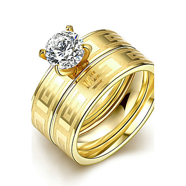 Dames Verlovingsring Ring Bandring Goud Titanium Staal Rond Bruids Modieus Eenvoudige Stijl Kerstcadeaus Bruiloft Feest Speciale