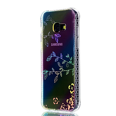 voordelige Galaxy A-serie hoesjes / covers-hoesje Voor Samsung Galaxy A3 (2017) / A5 (2017) Schokbestendig / Beplating / Doorzichtig Achterkant Bloem Zacht TPU