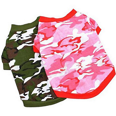 Koira T-paita Koiran vaatteet Sievä Rento/arki Muoti Sarjakuva Punainen Pinkki Naamiointiväri