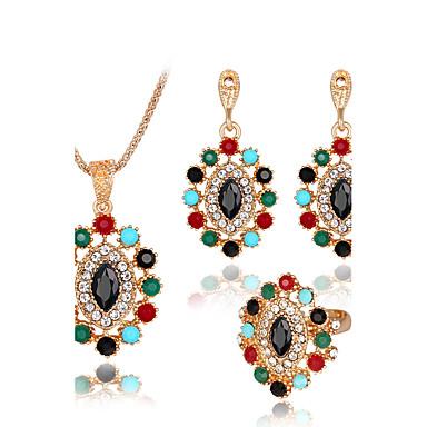 Pentru femei Seturi de bijuterii Inel Colier / cercei La modă Euramerican Reșină Ștras Aliaj Geometric Shape 1 Colier 1 Pereche de Cercei