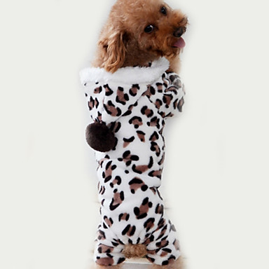cheap Dog Clothing & Accessories-Cat Dog Jumpsuit Pajamas Dog Clothes Leopard Brown Polar Fleece Costume For Spring &  Fall Winter Men's Women's Casual / Daily