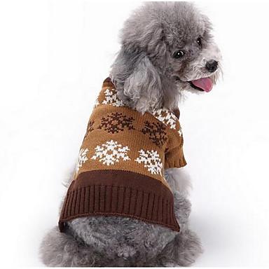 Σκύλος Πουλόβερ Ρούχα για σκύλους Χριστούγεννα Καθημερινά Μοντέρνα Κινούμενα σχέδια Γκρίζο Καφέ Στολές Για κατοικίδια