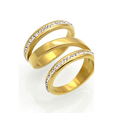 Erkek Kadın's Band Yüzük Kübik Zirconia Altın Gümüş Kübik Zirconia Titanyum Çelik 18K Altın Yuvarlak Geometric Shape Düzensiz