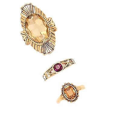 Pierścionki na palec środkowy Postarzane euroamerykańskiej Szkło Stop Bronze Biżuteria Na Impreza 3 szt.