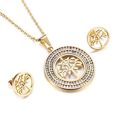 للمرأة مجموعة مجوهرات كلاسيكي الصداقة الولايات المتحدة الأمريكية بريطاني موضة euramerican في الفولاذ المقاوم للصدأ شجرة الحياة 1 قلادة 1