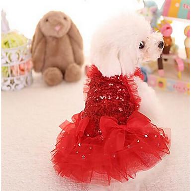 كلب الفساتين ملابس الكلاب جميل موضة أميرة أحمر زهري