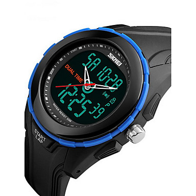 SKMEI Heren Sporthorloge Polshorloge Digitaal Alarm Kalender Waterbestendig LCD Dubbele tijdzones Stopwatch Rubber Band Cool Zwart Groen