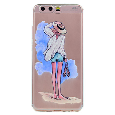 Hülle Für Huawei Transparent Muster Rückseitenabdeckung Sexy Lady Cartoon Design Weich TPU für Huawei P10 Plus Huawei P10 Lite Huawei P10