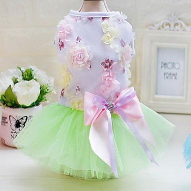 Other Jurken Hondenkleding Schattig Casual/Dagelijks Bruiloft Prinses Groen Blauw Roze