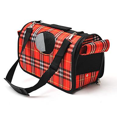 Kedi Köpek Taşıyıcı & Seyahat Sırt Çantaları Omuz çantası Evcil Hayvanlar Taşıyıcı Taşınabilir Nefes Alabilir Kareli Mor Kırmzı