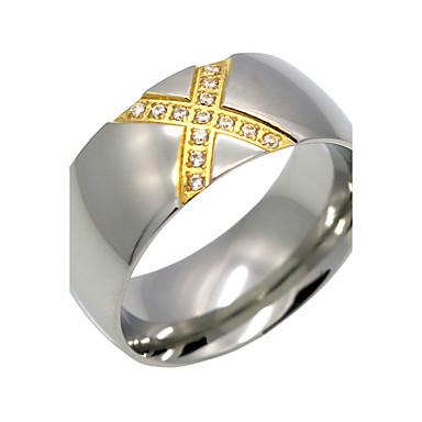 Herrn Damen Ring Silber Kubikzirkonia Titanstahl Geometrische Form Personalisiert Geometrisch Euramerican Modisch Übergang Doppelschicht