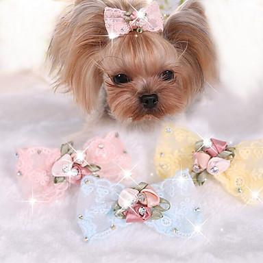 Câine Accesorii Păr Îmbrăcăminte Câini Nod Papion Galben Albastru Roz Material Textil Costume Pentru animale de companie Pentru femei