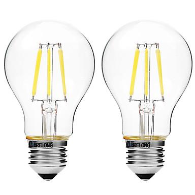 BRELONG® 2pcs 4W 450 lm E27 LED Glühlampen A60(A19) 6 Leds COB Abblendbar Warmes Weiß Weiß AC 200-240 V