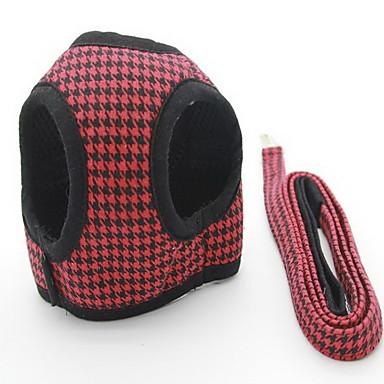 Câine Hamuri Lese Ajustabile Tartan/Carouri Englezesc Material Textil Negru Rosu