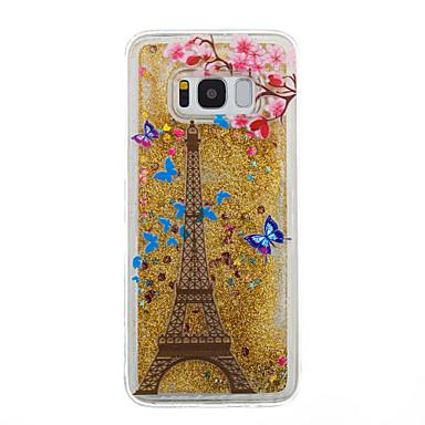 Hülle Für Samsung Galaxy S8 Plus S8 Mit Flüssigkeit befüllt Transparent Muster Rückseitenabdeckung Durchsichtig Eiffelturm Glänzender