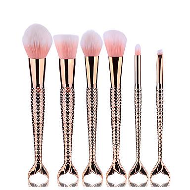 6 Brush Sets Blushkwast Oogschaduwkwast Eyelinerkwast Wimperkwast Verfkwast Poederkwast Aanbrengspons Foundationkwast Contour Brush
