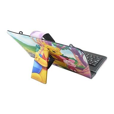 Voor Hoesje cover met standaard met toetsenbord Flip Patroon Volledige behuizing hoesje dier Cartoon Hard PU-leer voorApple Samsung