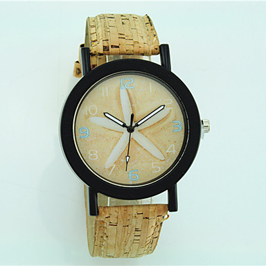 Dames Modieus horloge Kwarts houten Leer Band Bloem Informeel Beige