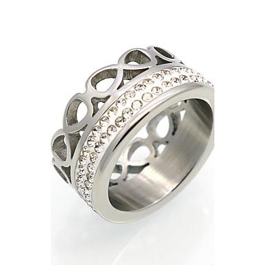Herrn Damen Ring Statement-Ring Bandring Kubikzirkonia Gold Silber Kubikzirkonia Titanstahl 18K Gold Kreisförmig Geometrische Form Zahl
