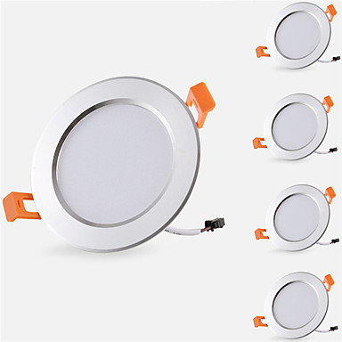billige Indendørsbelysning-5pcs 5 W 500 lm 10 LED Perler Let Instalation Forsænket Downlights LED nedlys Varm hvid Kold hvid 85-265 V Hjem / kontor Børneværelser Køkken / 5 stk. / RoHs / CE