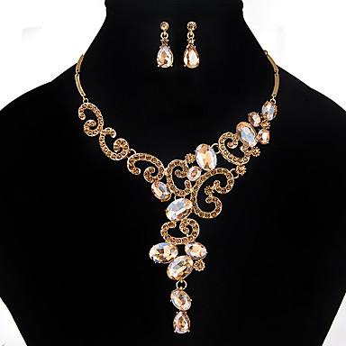 Dames Kristal Sieraden set - Met de Hand Gemaakt Bloem Goud Wit Zwart Sieraden Set Voor Bruiloft Feest Speciale gelegenheden  Vuosipäivä