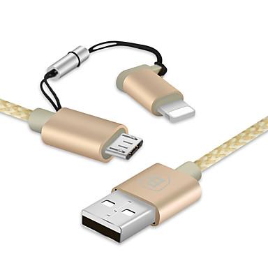 Lightning Micro USB All-In-1 جديلي محمول 1 إلى 2 كابل من أجل iPhone آي باد Samsung Huawei Sony HTC Motorola LG Lenovo Xiaomi cm نايلون