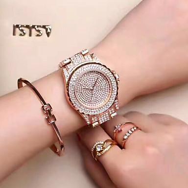 Damen Kleideruhr Modeuhr Armbanduhr Einzigartige kreative Uhr Simulierter Diamant Uhr Pavé-Uhr Chinesisch Quartz Strass / Edelstahl Band