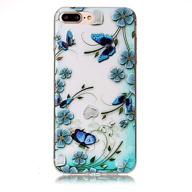 Maska Pentru Apple Transparent Embosat Model Carcasă Spate Fluture Floare Moale TPU pentru iPhone 7 Plus iPhone 7 iPhone 6s Plus iPhone 6