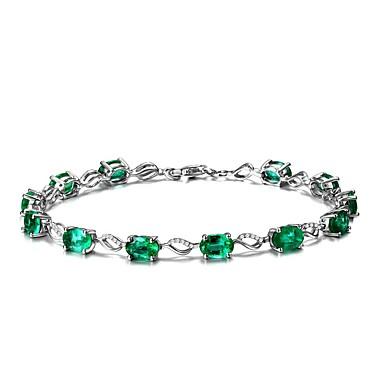 Damen Ketten- & Glieder-Armbänder Synthetischer Smaragd Natur Modisch Smaragdfarben Aleación Kreisform Schmuck Hochzeit Party Geburtstag
