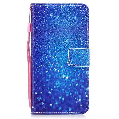 Für Apfel iphone 7 7 plus 6s 6 plus se 5s 5 Fallabdeckung blaues Sandmuster gemaltes PU-Hautmaterialkarte Stentmappentelefonkasten