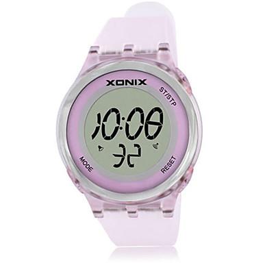 للمرأة ساعة رياضية رقمي مقاوم للماء مطاط فرقة الوردي بنفجسي الأصفر