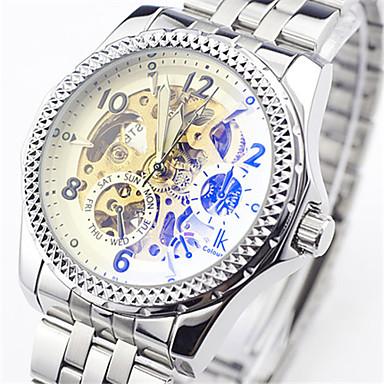 Heren Skeleton horloge Modieus horloge mechanische horloges Automatisch opwindmechanisme Waterbestendig Legering Band Zilver