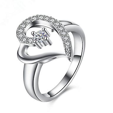 Pentru femei Inel Diamant sintetic Argintiu Argilă Inimă Inimă Felicitări Cadou Zilnic Casual Costum de bijuterii