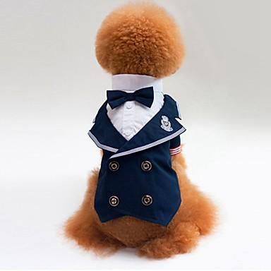 Katze Hund T-shirt Pullover Smoking Hundekleidung Party Cosplay Hochzeit Farbblock Blau