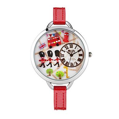 Dames Modieus horloge Kwarts Digitaal Waterbestendig PU Band Wit Rood
