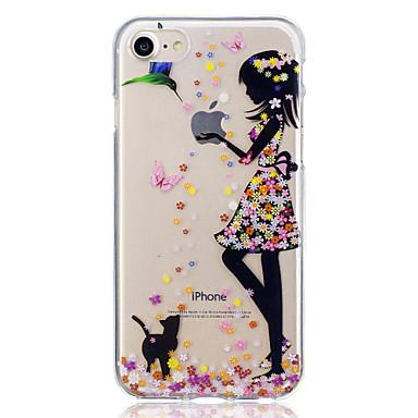 olcso iPhone 5 tokok-Case Kompatibilitás Apple iPhone 7 / iPhone 7 Plus Minta Fekete tok Cica / Szexi lány Puha TPU mert iPhone 7 Plus / iPhone 7 / iPhone 6s Plus