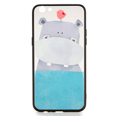Voor oppo r9s r9s plus case cover patroon back cover hoesje vogel hippo cartoon harde pc r9 r9 plus