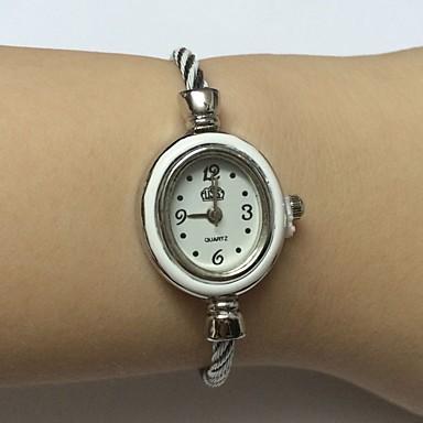 للمرأة ساعات فاشن ساعة المعصم صيني كوارتز أشابة فرقة سوار عادية فضة