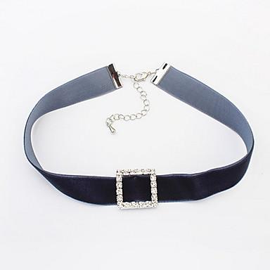 olcso Divat nyaklánc-Női Rövid nyakláncok Nyaklánc medálok utánzat Diamond Square Shape Strassz AnyagAlap Egyedi Medál Szerelem Geometriai Barátság Méretes