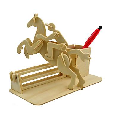 قطع تركيب3D تركيب النماذج الخشبية مجموعات البناء حصان 3D محاكاة اصنع بنفسك خشب كلاسيكي للأطفال للجنسين هدية