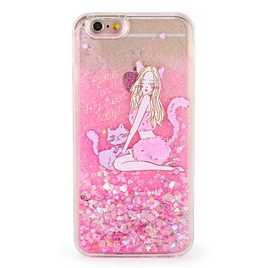 hoesje Voor Apple iPhone 7 Plus iPhone 7 Stromende vloeistof Patroon Achterkant Kat Sexy dame Glitterglans Hard PC voor iPhone 7 Plus